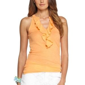 Lilly Pulitzer apricot orange ruffled Shay top